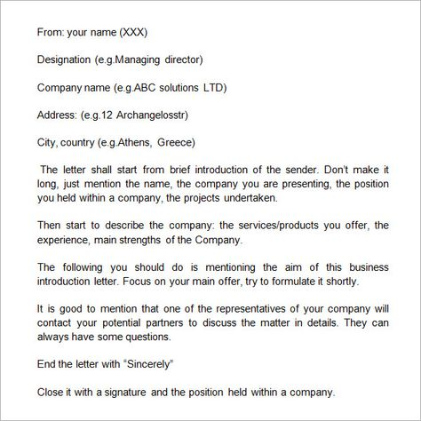 Business Introduction Letter To New Client  Jobs