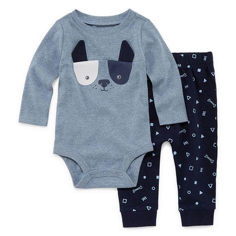 a931f5a63 Okie Dokie Blue Dog Long Sleeve Bodysuit and Pant Set - Baby Boy NB-24M