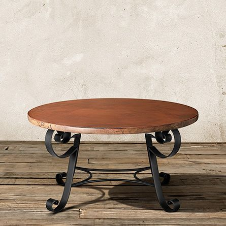 The Arhaus Normandy 36 Round Copper Coffee Table With Los Cabos