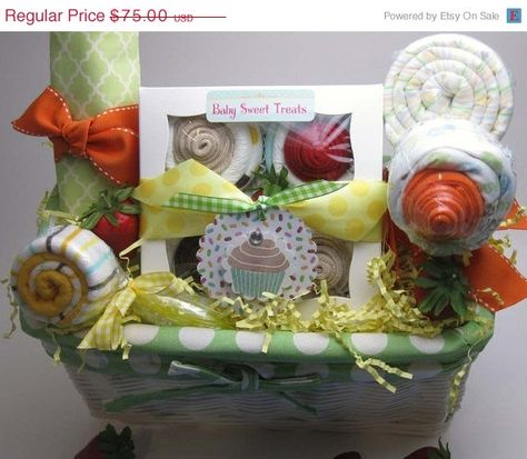 Sweetest Baby Gift Basket via Etsy http://www.etsy.com/listing/55132593/on-sale-15-off-sweetest-baby-gift-basket?ref=sr_gallery_1&ga;_search_submit=&ga;_search_query=gift+basket&ga;_view_type=gallery&ga;_ship_to=US&ga;_search_type=handmade&ga;_facet=handmade ~ Includes set of 4 Diaper Cupcake Set, 1 blanket, 1 onesie, 1 burp cloth, 1 washcloth, 1 feeding spoon, and fabric lined basket. Adorable!