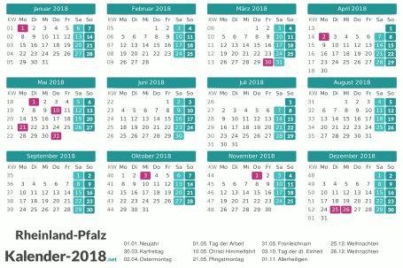 Kalender 2018 Zum Ausdrucken Rheinland Pfalz