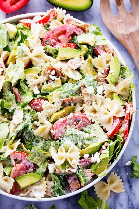 BLT Avocado Pasta Salad is fresh and crisp romaine lettuce tossed in bacon, tomato, pasta, and avocado. Topped with a creamy dressing and sprinkled with feta cheese this is one amazing salad! This was a whirlwind of a weekend but so much fun! We closed on our new home and then I headed to an …