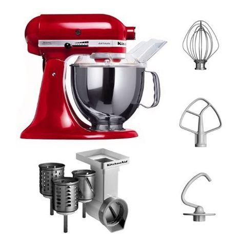 """Kitchenaid KSM150PSEER + MVSA Kitchenaid 5KSM150PSEER Küchenmaschine Serie """"Artisan"""" plus Zubehör für Gemüseschneider / Schnitzelwerk mit 3 Trommeln, rot von KitchenAid, http://www.amazon.de/dp/B008JA8QZE/ref=cm_sw_r_pi_dp_-7hQtb0XYSESP"""