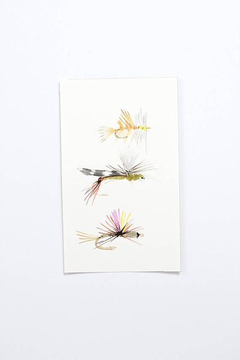 Original Watercolor Fly Fishing Flies Painting Trout Art