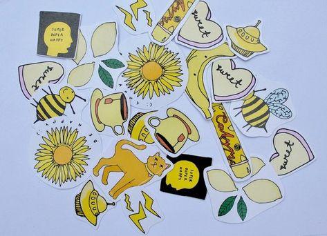 Yellow Aesthetic Stickers Etsy Aesthetic Stickers Yellow Aesthetic Aesthetic Drawing