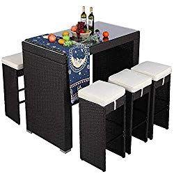 Htth 7 Piece Outdoor Rattan Wicker Bar Dining Patio Furniture Set