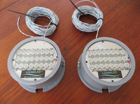 Two (2) green LED boat transom lights. These marine LED lights are incredibly durable, totally corrosion proof, extremely bright, compact and very efficient.