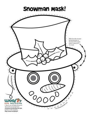 Christmas Printable Masks To Color Woo Jr Kids Activities Printable Snowman Faces Printable Masks Printable Snowman