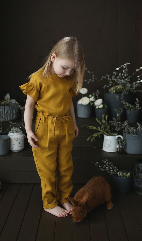 Read the full title Linen kids jumpsuit Linen overall for girls Yellow linen rompers Casual kids jumpsuit Loose linen jumpsuit Kids jumpsuit with belt
