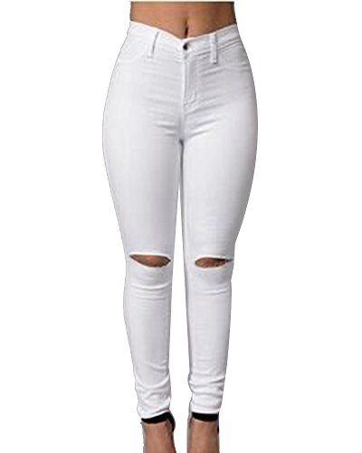 Mujer Cintura Alta Pantalones Rotos En La Rodilla Jeans Mujer Elastico Skinny Vaqueros Leggings Ropa Grupobrtelecom Com Br