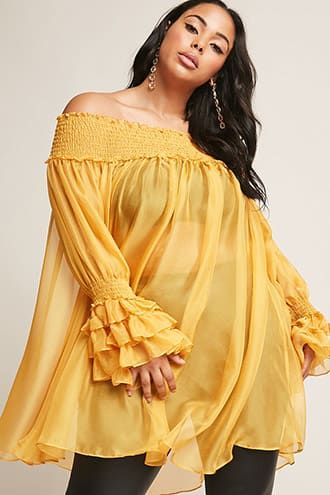 99446757f4ceea Plus Size Sheer Off-the-Shoulder Tunic | Products in 2019 | Plus ...
