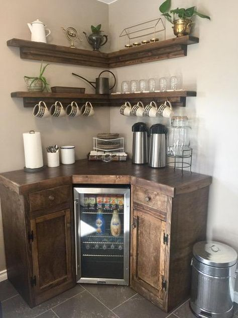 Corner Coffee Station with Floating Shelves Coffee Bar Station, Home Coffee Stations, Coffee Station Kitchen, Coffee Bars In Kitchen, Coffee Bar Home, Coffee Bar Ideas, Coffe Bar, Coffee Bar Design, Coffee Nook