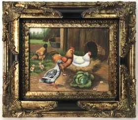 Framed Rooster Duck Duckling Painting With Images Painting Art Auction