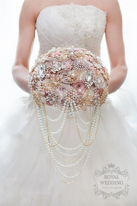 Wedding Fabric Brooch Bouquet Pink Bridal Bouquet Ivory Brides
