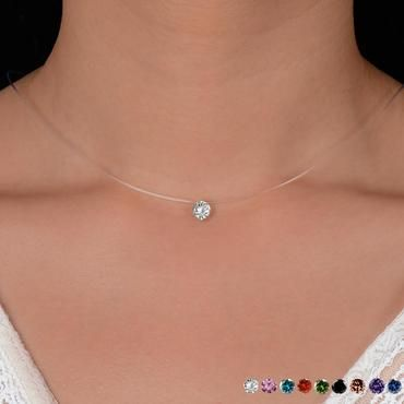 Minimal Dainty 6mm Floating Pearl Invisible Illusion Necklaces for women 41i