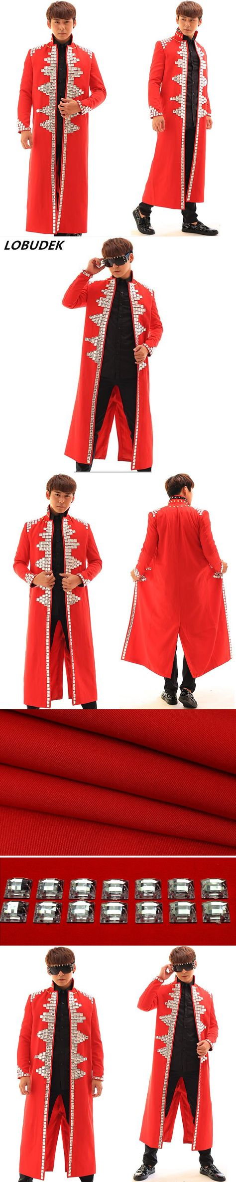 Male long jacket costumes Acrylic bead diamond coat outfit blazer personality nightclub tide singer dancer show stage party bar