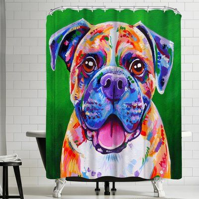 East Urban Home Eve Izzett Boxer Dog Single Shower Curtain Wayfair Boxer Dogs Boxer Dog Pictures Pure Breed Dogs
