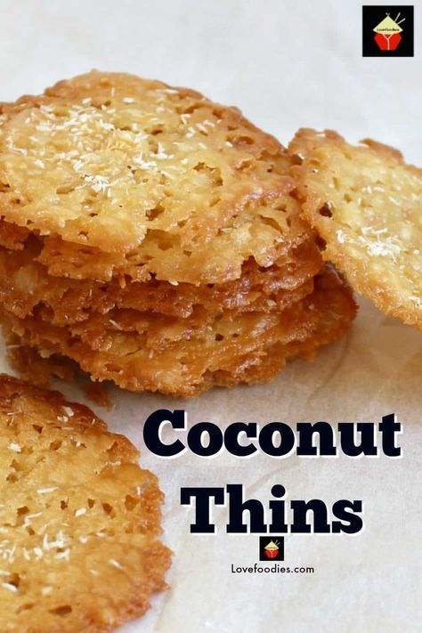 Coconut Thins! If you like crisp, caramel,coconut and sweet then these little treats are for you! They're absolutely delicious and will store for up to a week if you wish to make ahead. They also make lovely gifts too! Nice easy recipe using regular ingredients. | Lovefoodies.com