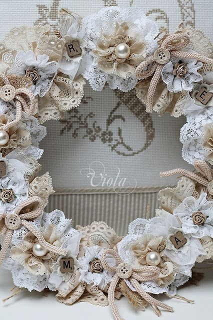 Shabby Chic Inspired- glue all my diy lace flowers to flat back Styrofoam wreath, add pearls and bows (might add burlap loops)