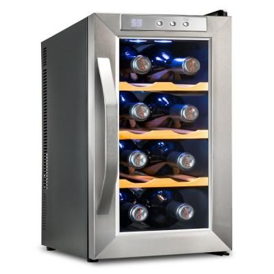 Ivation 8 Bottle Premium Thermoelectric Freestanding Wine Cooler Fridge Cellar Refrigerator Stainless Steel With Wood Shelves Stainless Steel Glass Thermoelectric Wine Cooler Wine Cooler Fridge Wine Chiller