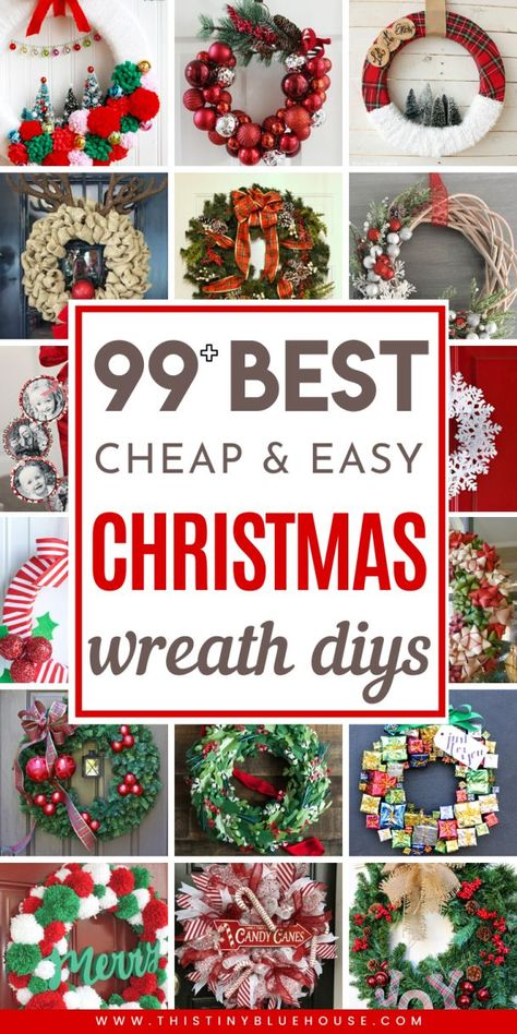 get your front door ready for the holidays with this ultimate collection of best cheap DIY Christmas Wreaths. With over 100 BEST holiday wreaths to choose from youre guaranteed to have the most festive door on the block. Christmas Ornament Wreath, Decoration Christmas, Burlap Christmas, Christmas Holidays, Cheap Christmas, Christmas Swags, Simple Christmas, Holiday Wreaths, Holiday Crafts