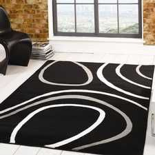 For High Quality Rugs At Great Prices The Sincerity Modern Spiro Rug Black A Price And Get Free Fast Delivery