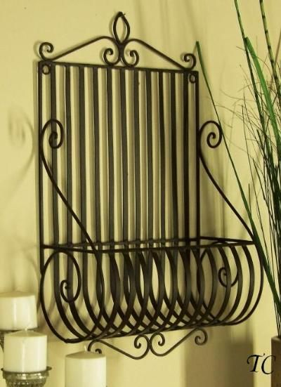 Wrought Iron Scroll Wall Planter Basket Tuscany Wrought Iron Wall Decor Tuscan Wrought Iron Metal Wall Planters