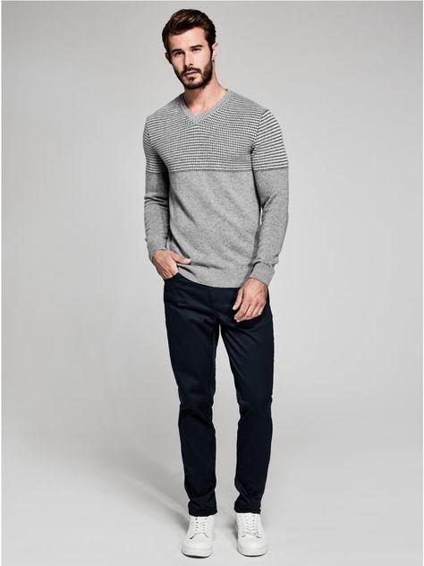 Jacquard Yoke V-Neck Sweater