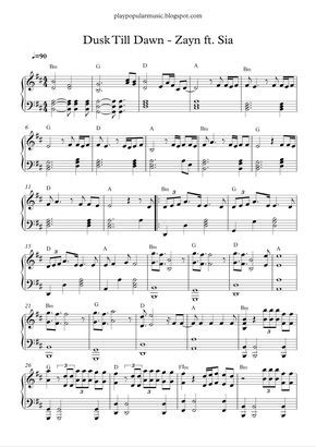 Free Piano Sheet Music Dusk Till Dawn Zayn Ft Sia Pdf Not Tryna Be In That Not Tryna Be Cool Just Tryna Dusk Till Dawn Song Notes Piano Sheet Music Free
