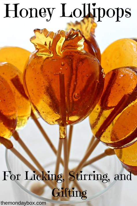 Honey Lollipops for Licking, Stirring, and Gifting. One easy recipe makes soothing honey lollipops or honey stirrers to mix into a cup of tea! Try Albergian honey in this recipe! Honey Candy, Honey Syrup, Honey Recipes, Homemade Candies, Homemade Lollipops, Candy Making, Food Gifts, Fudge, Sprinkles