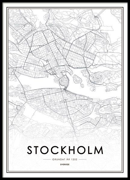 Stockholm City Map 30x40cm En 2020 Tableau Noir Et Blanc