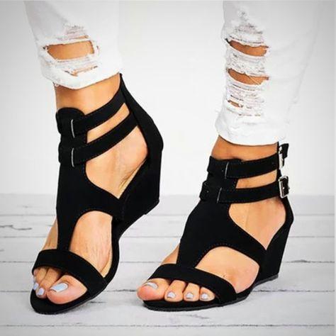 2aa64d8d7d Black Sandals High Heels - Wedge Heel Wedge Sandals - High Heel Shoes  Sandals