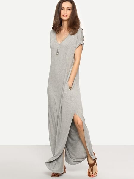 410782c046b96 Light Grey V-Neck Rolled Cuff Side Pocket Curved Slit Hem Maxi Dress ...