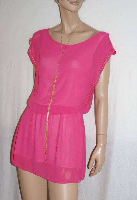 "Fresh&Sexy Fuchsia Mini Dress with Studs Size S/M Branded""Italian Style""…"