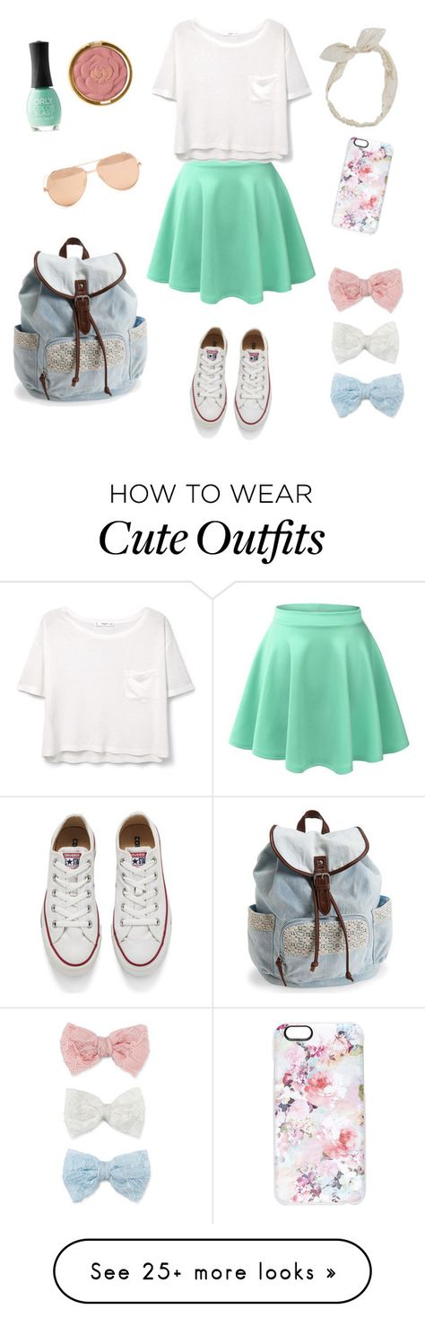 """Cute School Outfit"" by scamper623 on Polyvore featuring Decree, Converse, Carole, Milani, ORLY, LE3NO, MANGO, Aéropostale, Linda Farrow and Casetify"