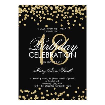 Elegant 18th Birthday Gold Glitter Confetti Black Invitation Zazzle Com Rose Gold Glitter Confetti Confetti Invitation 18th Birthday