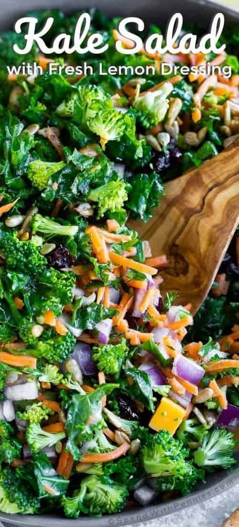 This easy kale salad features fresh veggies and a super simple homemade lemon dressing, making it perfect as a healthy side dish or light lunch! #spendwithpennies #easyrecipe #easysalad #simplerecipe #healthyrecipe
