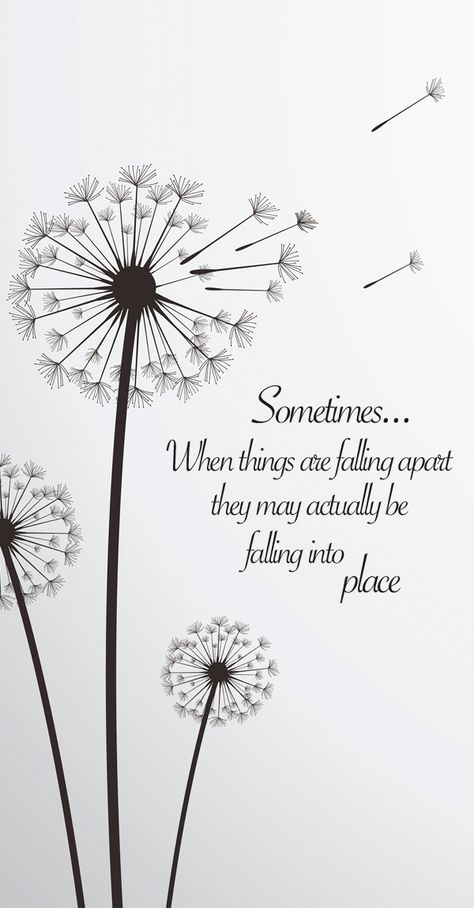 """""""Sometimes when things are falling apart they may actually be falling into place."""" Inspirational falling apart quote #quote #humor #quotesticker"""