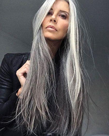 Graue lange haare frisuren