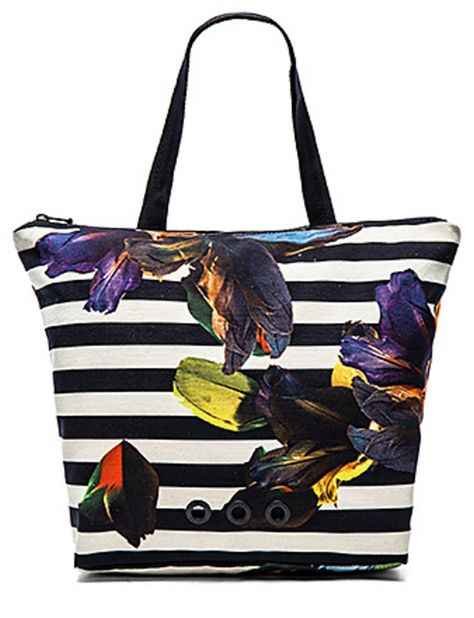 Black and White Stripe Tote with Tropical Collage Print