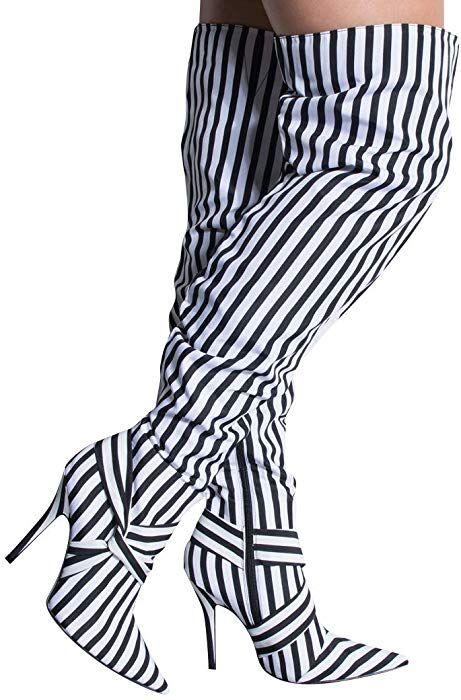 d488e927386ed Amazon.com: CAPE ROBBIN Bold White Black Stripes Knot Detail Over ...