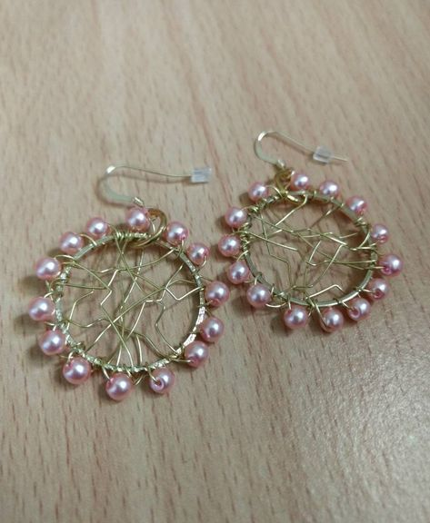 Wire Wrapped Hoops Made With Pink Pearls And Artistic Earrings Wirerapped Gifts For
