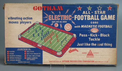 Electric Football Board Games from the 1960s - Bing Images the gu's at school had this. I used to think that it would be funny to hook the players arms together and watch them square dance!!!