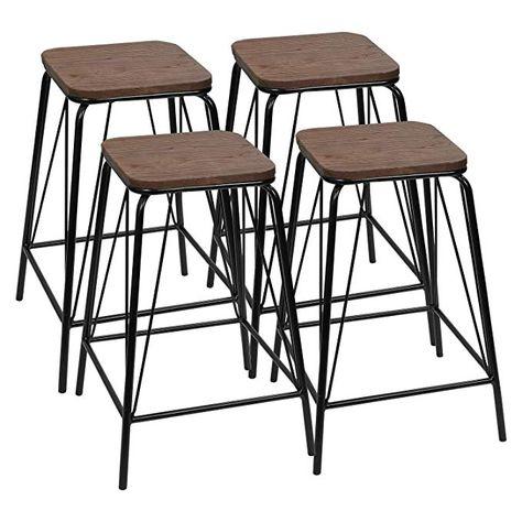 Sensational Amazon Com Furmax Black Metal Bar Stools With Wood Top High Uwap Interior Chair Design Uwaporg