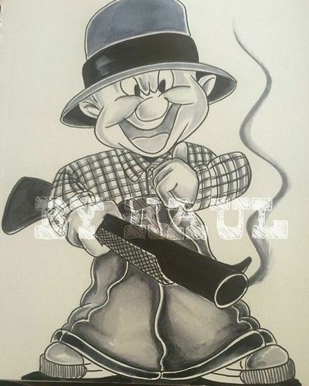 Gangster Cartoon Tattoo Designs : gangster, cartoon, tattoo, designs, Gangster, Elmer, Fudd-, @artbyraul, Cartoon, Tattoos,, Chicano, Drawings
