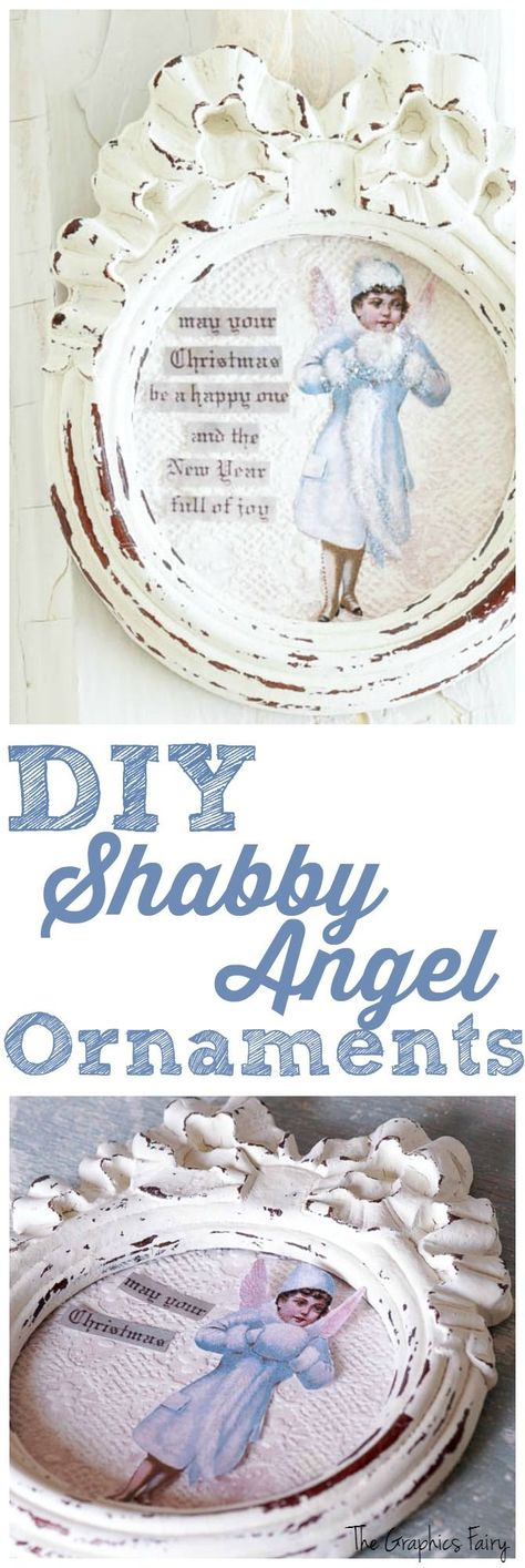 DIY Shabby Angel Ornaments - The Graphics Fairy. Beautiful and easy Christmas Craft Tutorial! By White Lace Cottage for Graphics Fairy