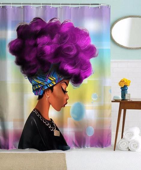 "Afro African Beauty Girl Combing Hair Waterproof Fabric Shower Curtain Set 72/"""