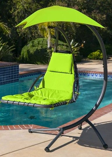 Hanging Curved Chaise Lounge Chair W Built In Pillow Removable