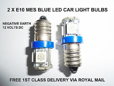 987 E10 Led Car Bulbs Mes Blue Light Lamp Smiths Gauges Clocks No Polarity 12v Ebay Light Bulb Lamp Led Car Bulbs Lamp Light