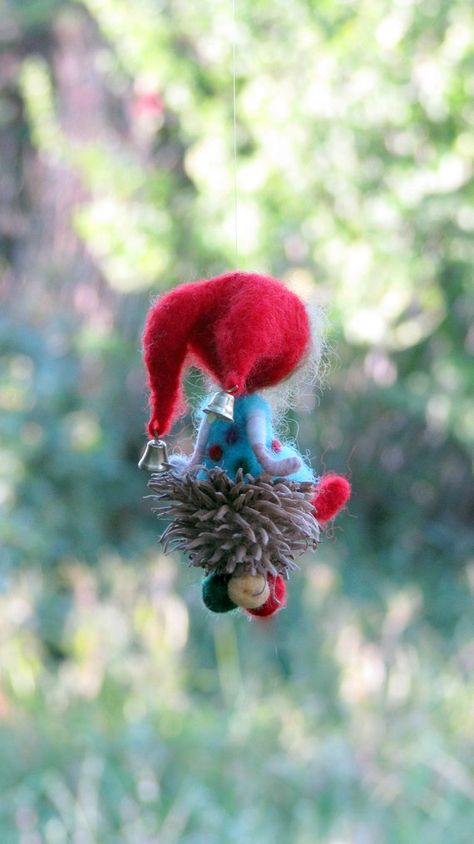 Little gift, Home decor, ornament, Waldorf inspired gnome, Felted ornament, Nursery decoration, Tree ornament, Christmas ornament,